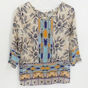 Maeve Sidney Button Back Silk Patterned Top Blouse